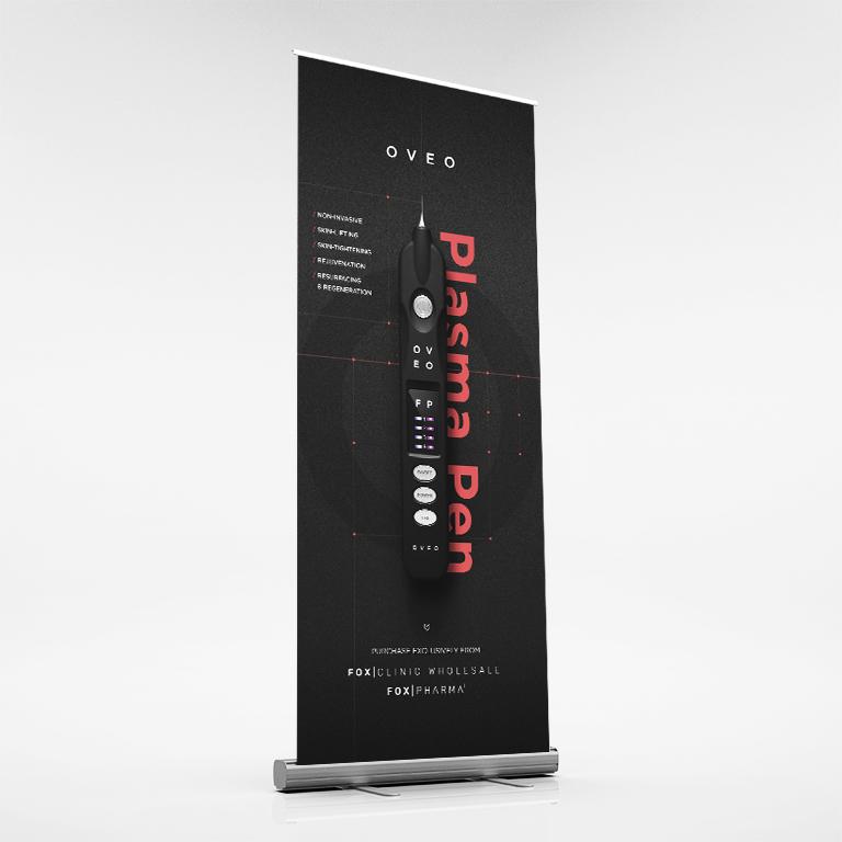 OVEO Plasma Pen Pull Up Banner 850x2000mm